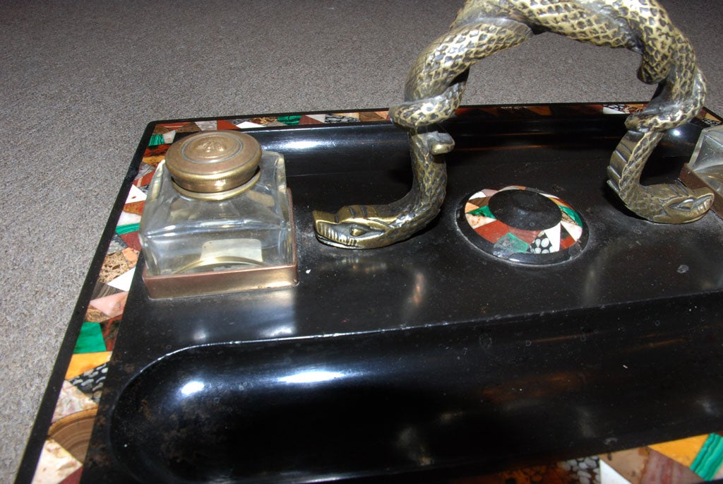 English Large Pietra Dura Inkstand with Malachite for a Partner's Desk For Sale