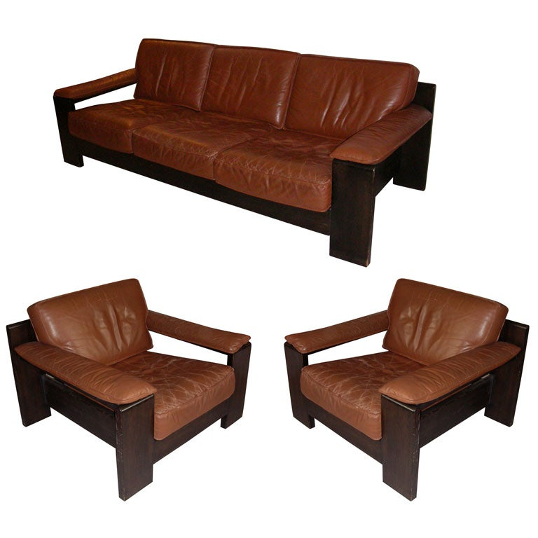 1970 1980 Brown Leather Living Room Suite At 1stdibs