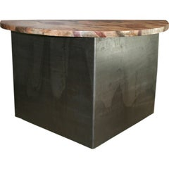 Pair of Steel and Faux Marble Demi Lune Tables