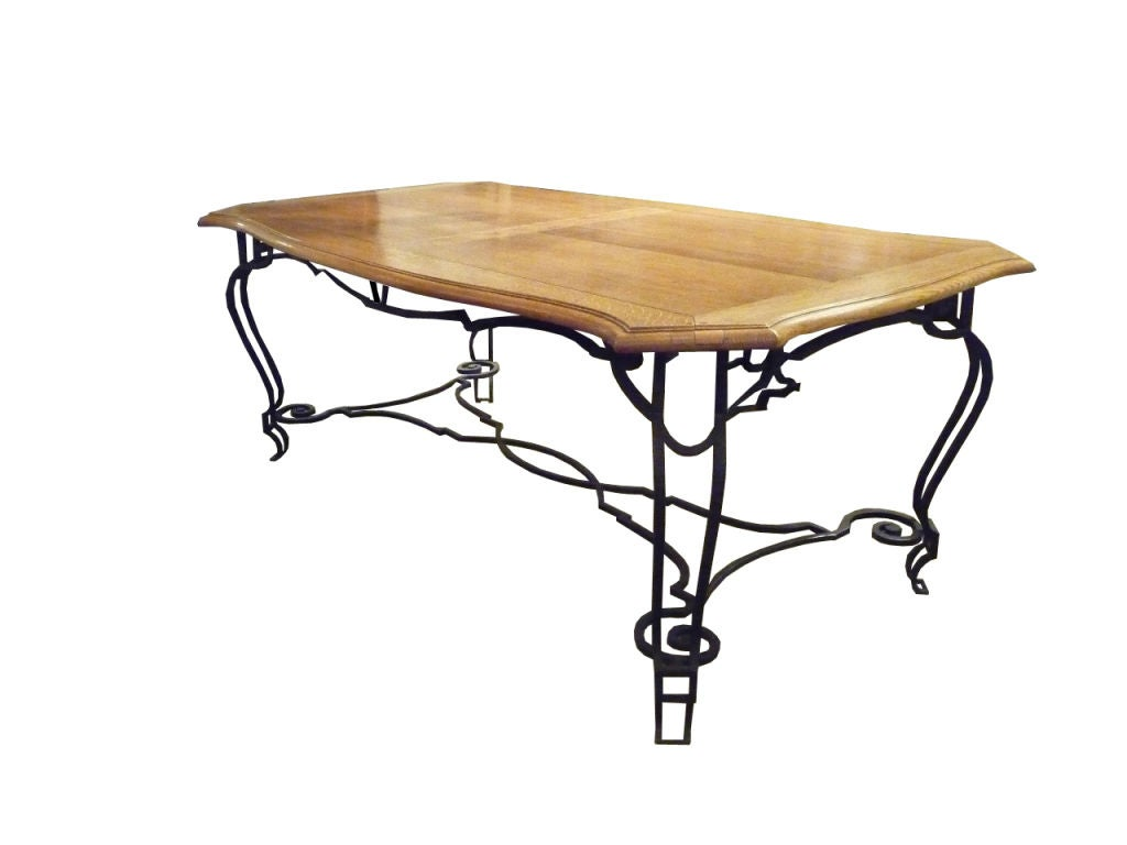 Oak And Iron Dining Table For Sale At 1stdibs