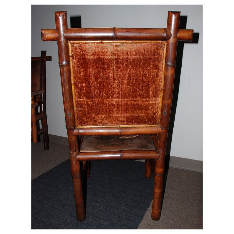 Leather Pair of 19th Century Bamboo Armchairs For Sale