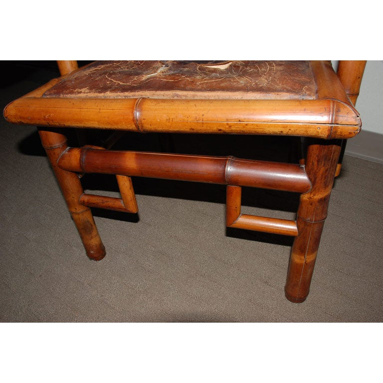 Pair of 19th Century Bamboo Armchairs For Sale 1