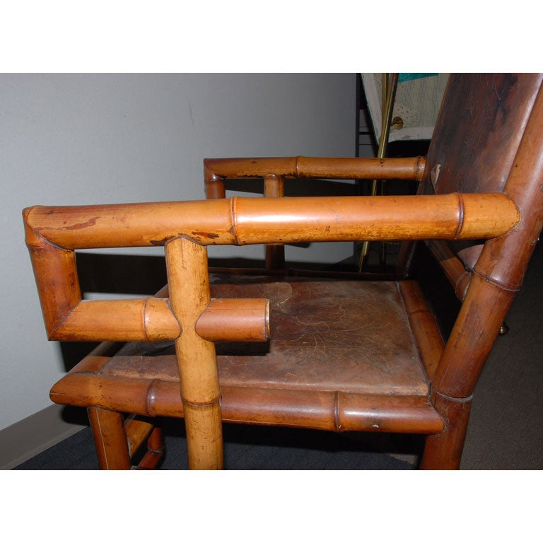 Pair of 19th Century Bamboo Armchairs For Sale 2