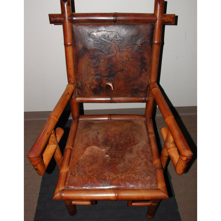 Pair of 19th Century Bamboo Armchairs For Sale 3