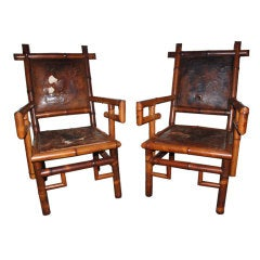 Pair of Bamboo & Leather Armchairs