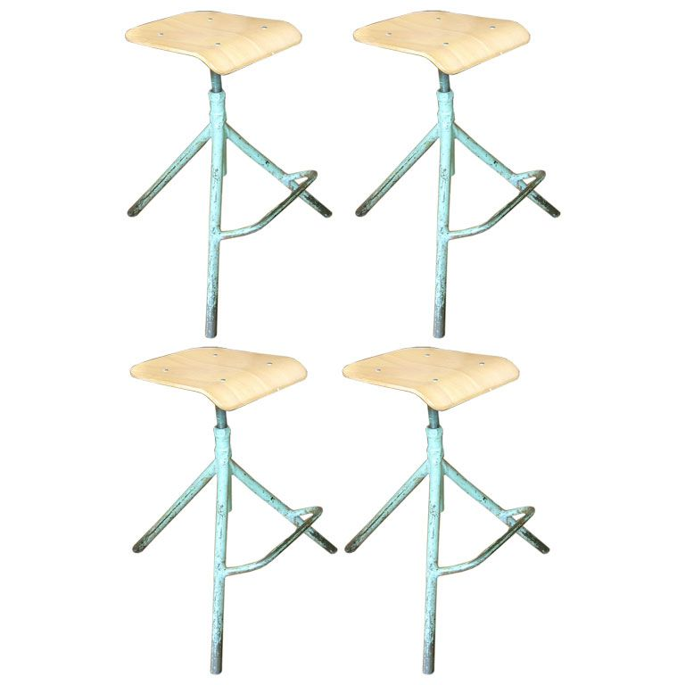 Four French Iron Stools At 1stdibs