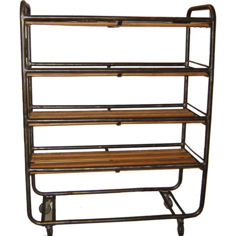 Rolling Industrial Steel And Wood Shelves At 1stdibs