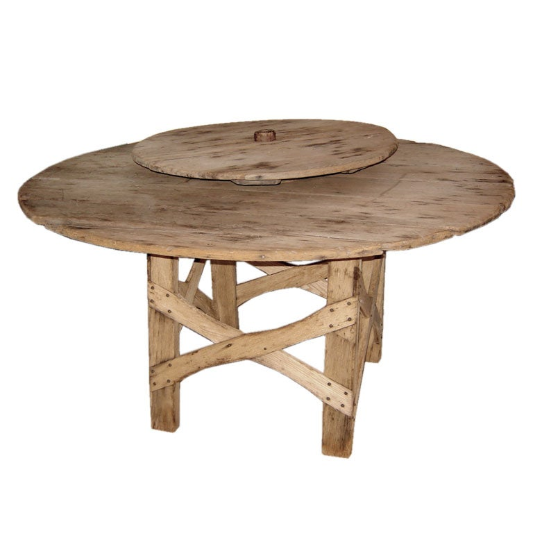 Weathered Rustic Lazy Susan Table At 1stdibs