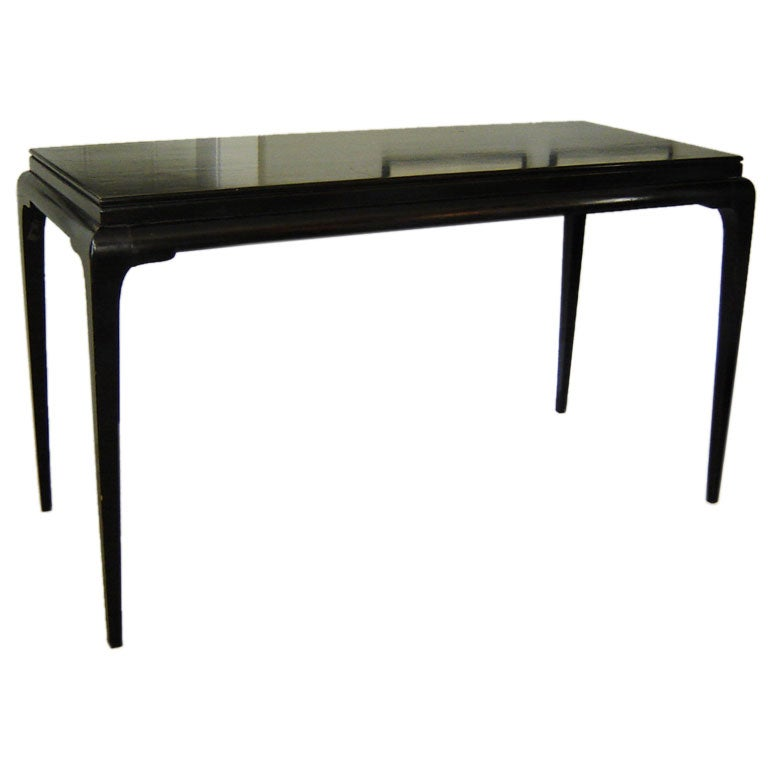 Black lacquered asian style console at stdibs