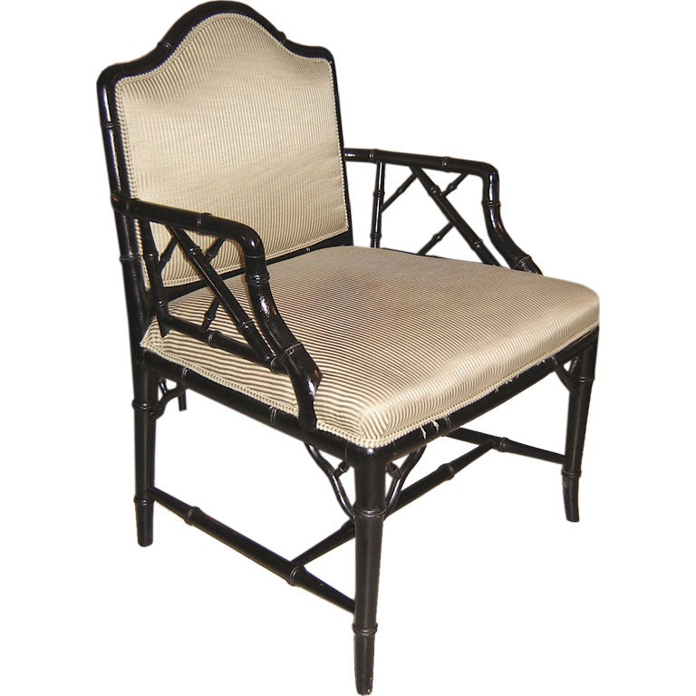 Black Lacquered Faux Bamboo Chair At 1stdibs