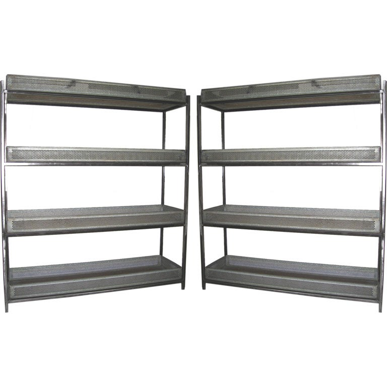 Pair of steel etageres made with vintage zinc egg containers at 1stdibs - Etagere cases carrees ...