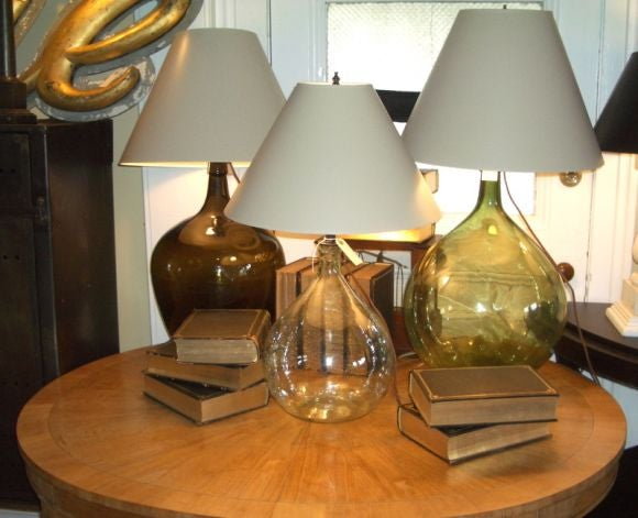 Three table lamps made from antique wine bottles at 1stdibs for Lamps made out of wine bottles