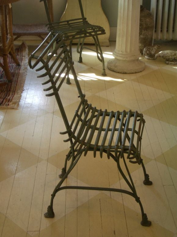 Six french painted metal cafe chairs at 1stdibs