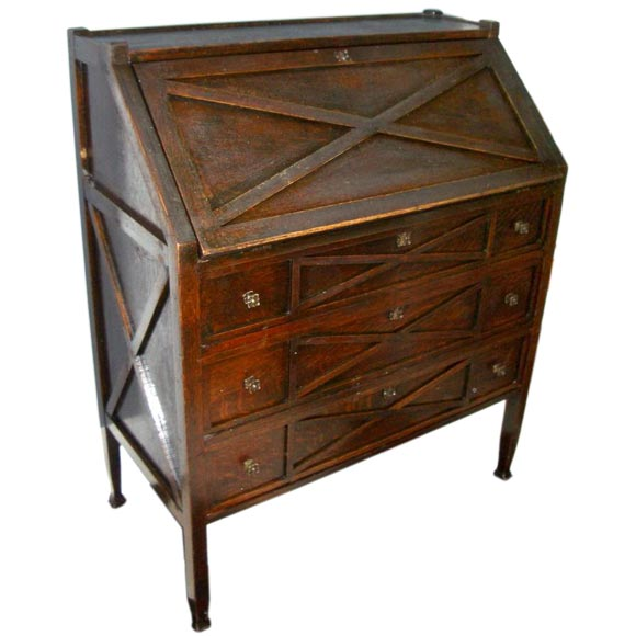 English Arts And Crafts Dropfront Desk At 1stdibs