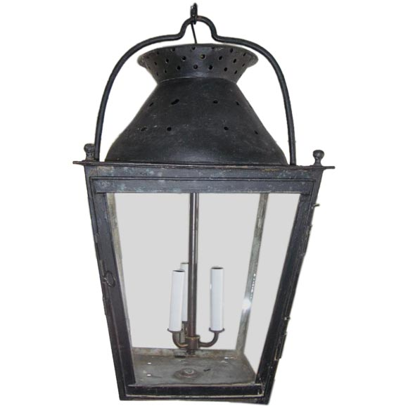 Large Black Lantern With Perforated Top At 1stdibs