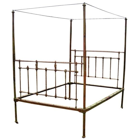 Queen Size Iron Canopy Bed At 1stdibs