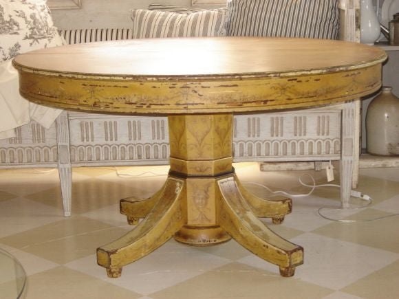 Exceptional large dining table with original distressed paint at 1stdibs - Painted dining tables distressed ...