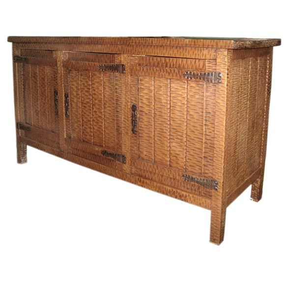 arts and crafts style chip carved buffet at 1stdibs. Black Bedroom Furniture Sets. Home Design Ideas