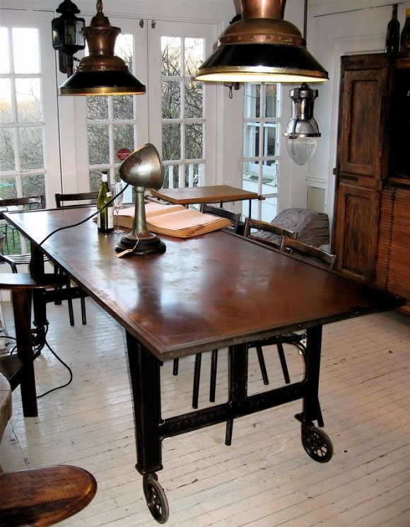 copper top industrial dining table at 1stdibs