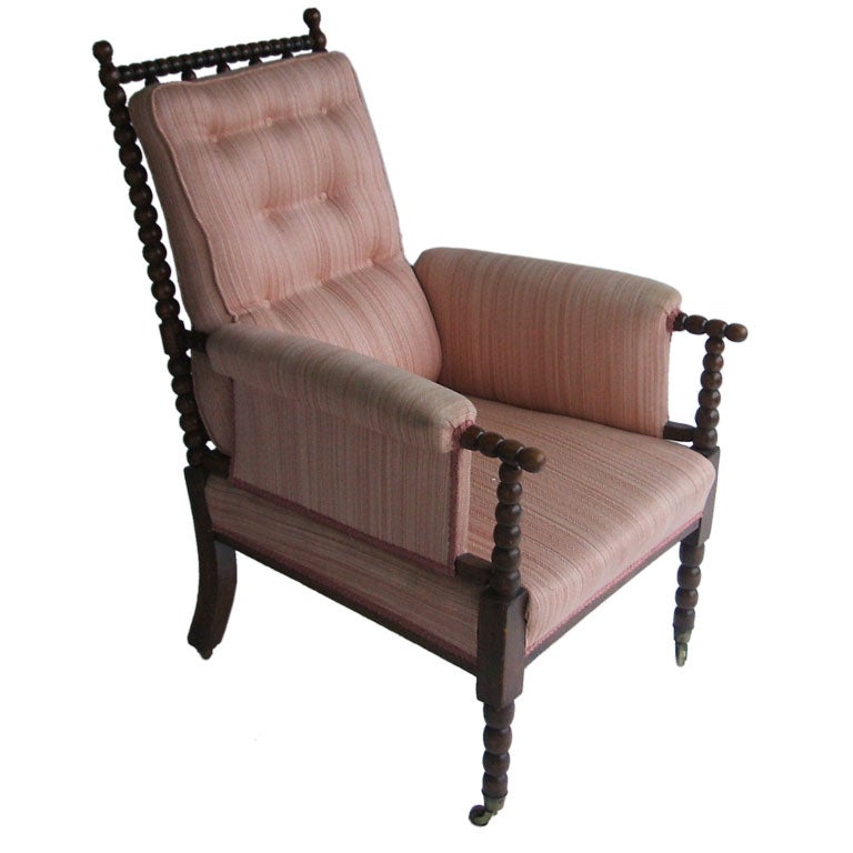 this pink upholstered antique bobbin chair is no longer available