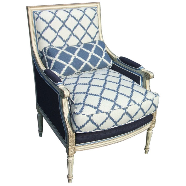 Blue And White Upholstered Chair At 1stdibs