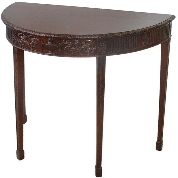 Carved mahogany demi lune table at 1stdibs for Table cuisine demi lune