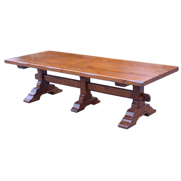 Cherry trestle dining table at 1stdibs for Cherry dining table