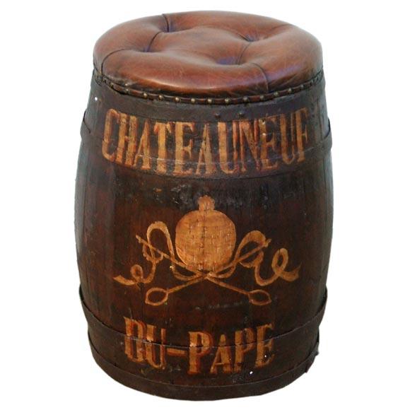 Leather Seat Wine Barrel Stool At 1stdibs