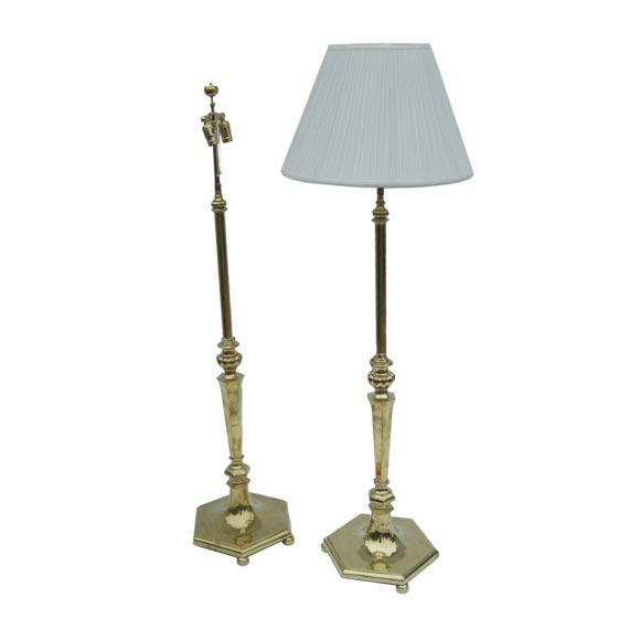 Antique brass standard lamp at 1stdibs for Antique brass standard floor lamp