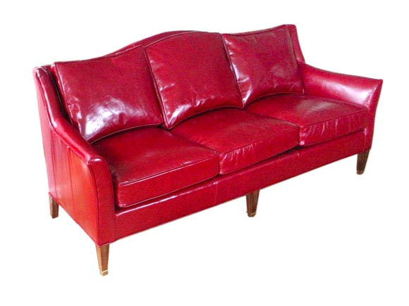 Cherry Red Leather Sofa At 1stdibs