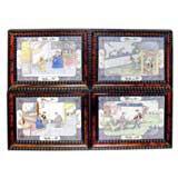 Set of Four 18th Century Canton Enamel Plaques