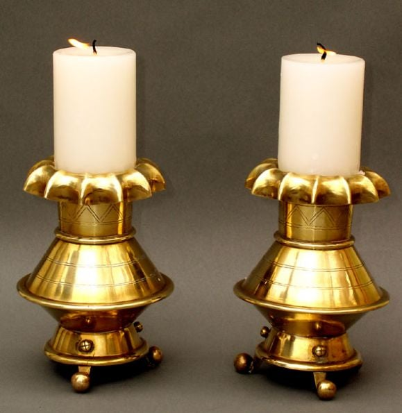 Pair of arts and crafts brass candlesticks at 1stdibs for Arts and crafts candle sconces