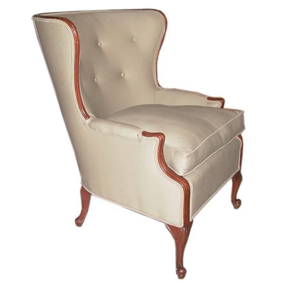 Curved button back wing chair at 1stdibs for How to make a wingback chair