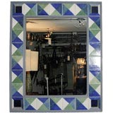 Large Square Mirror with Blue and Green Tile