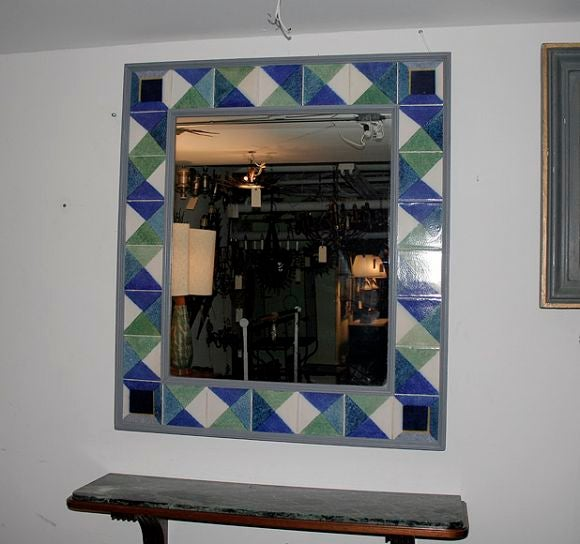 Large square mirror with blue and green tile at 1stdibs for Big square mirror