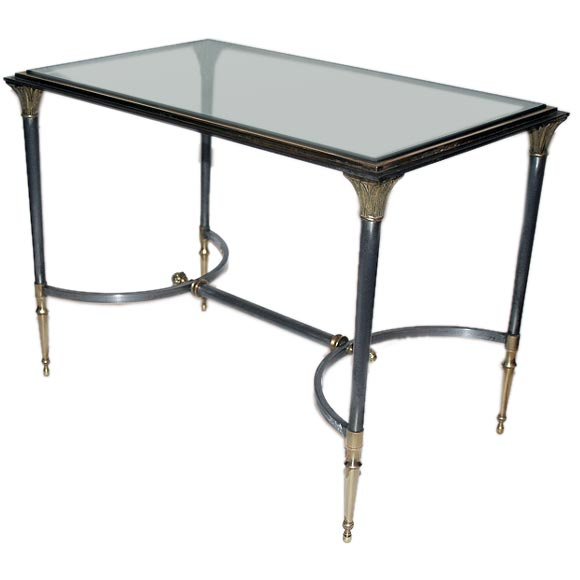 Small Brass And Steel With Glass Inset Coffee Table Maison Jansen For Sale At 1stdibs