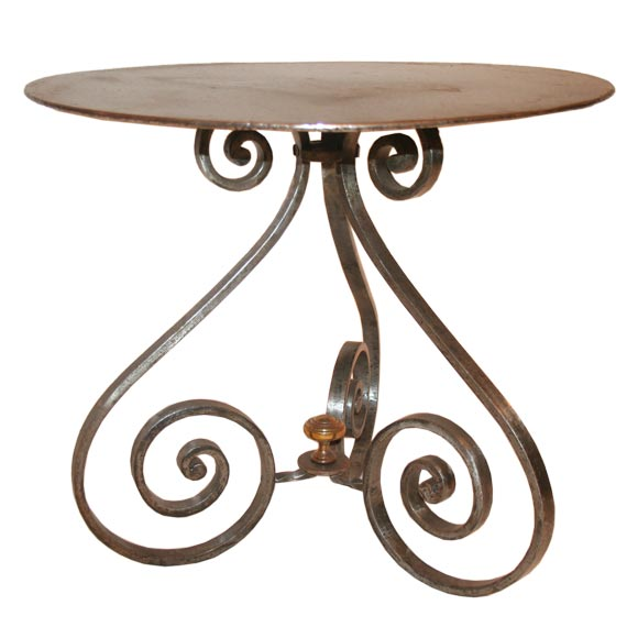 Small Iron Coffee Table With 3 Scroll Legs At 1stdibs