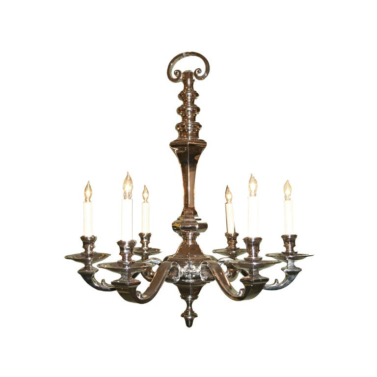 French Nickel Plated Chandelier at 1stdibs