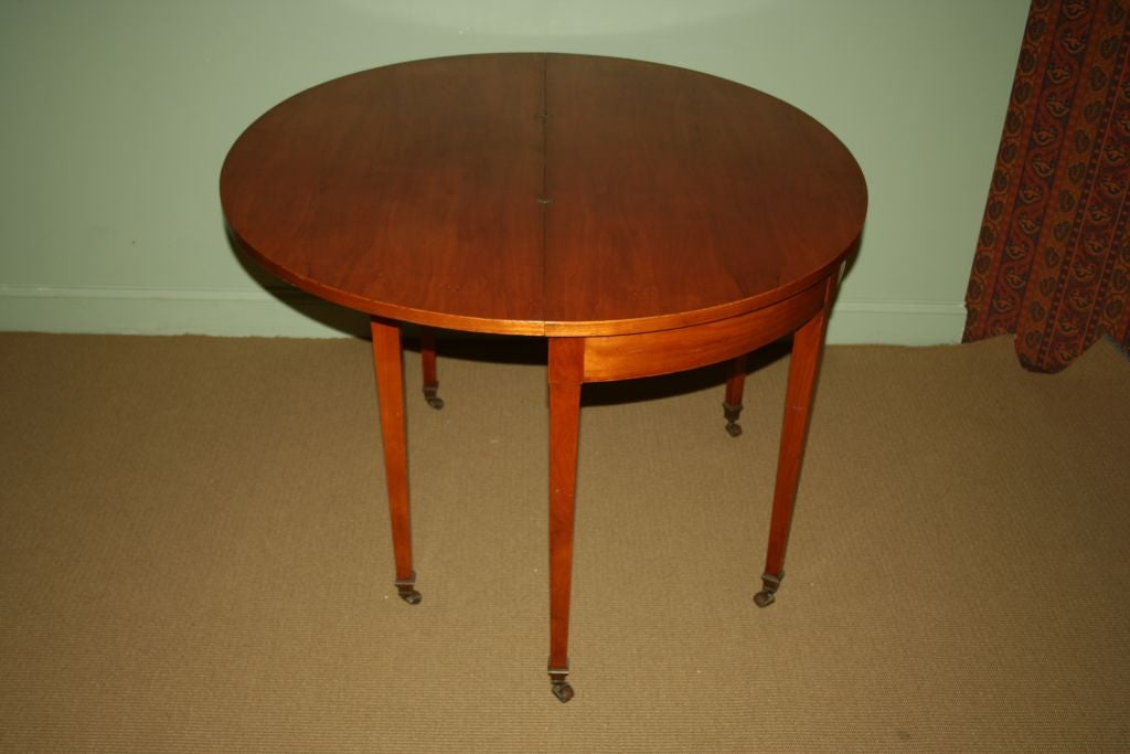 French fruitwood demi lune table at 1stdibs for Table demi lune extensible
