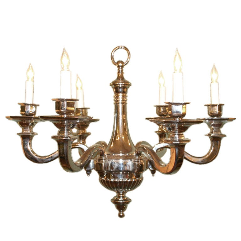 French Nickel Plated Bronze Chandelier at 1stdibs