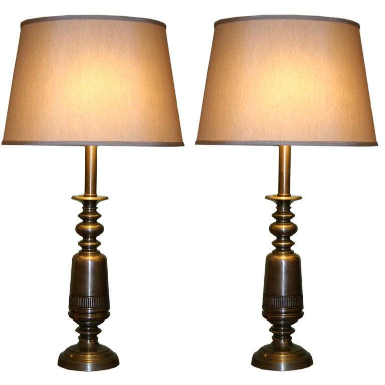 Pair of Sculptural Brass Lamps