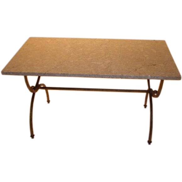 Small Gilt Iron Marble Top Coffee Table For