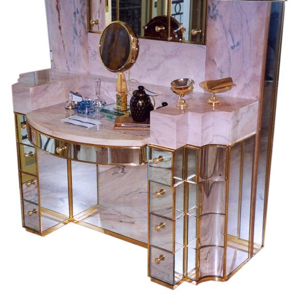 Beautiful Jansen Mirrored Dressing Table At 1stdibs