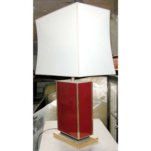 French Coral Red Lacquer Table Lamp For Sale