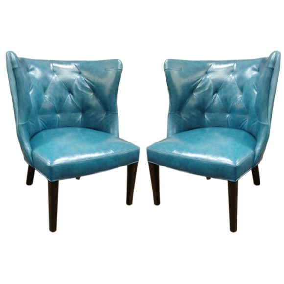 Aqua Leather Tufted Back Chair At 1stdibs