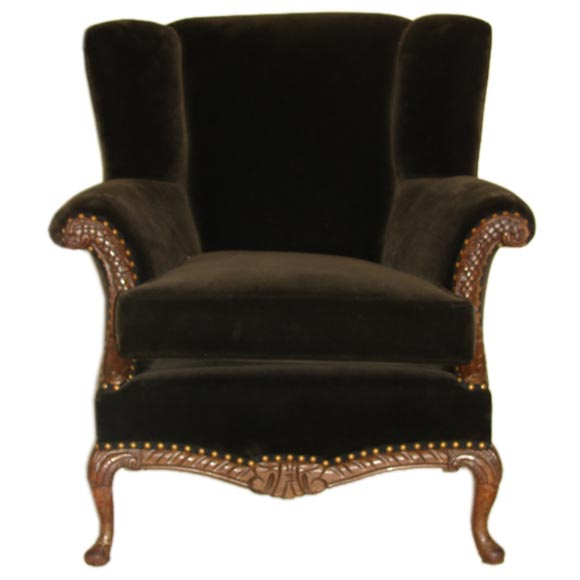 Exceptional Antique Carved Walnut Brown Velvet Wing Chair At 1stdibs