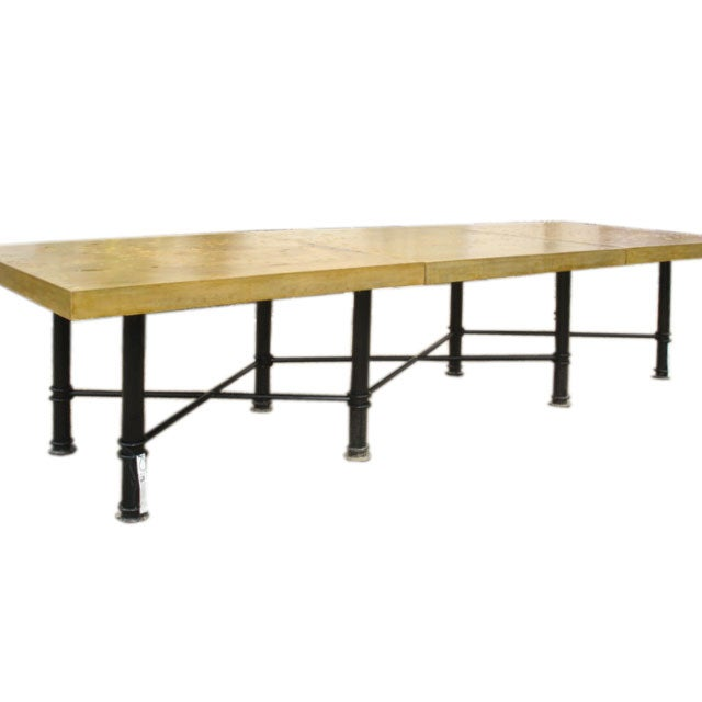 3 piece concrete top dining table at 1stdibs for 3 piece dining room table
