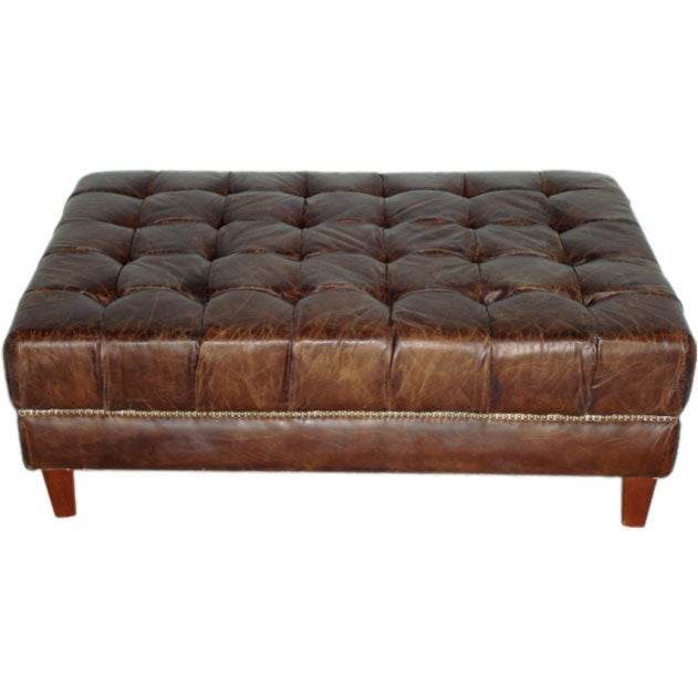 Aged Leather Tufted Ottoman At 1stdibs
