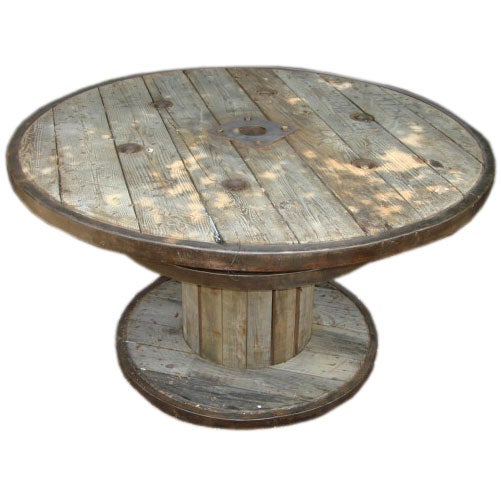 belgian marine cable wood and iron spool table at 1stdibs