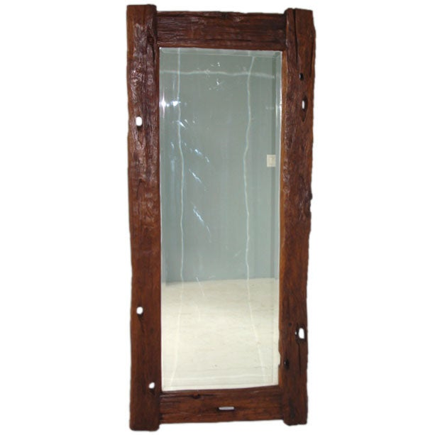 Rustic wood java floor mirror at 1stdibs for Wood floor length mirror